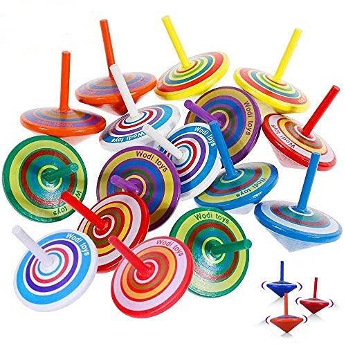 Libershine Peonza de Madera, 30 Piezas Peonza de Madera de Colores Efecto de Color Al Girar, giroscopio de Madera, niños giroscopio de Juguete, Creativo Juguete, Regalos para Comuniones