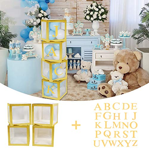 Birthday Party Decorations Balloons Box, 4 PCS Transparent Gold Edge Boxes with 26 letters for Gender Reveal Decorations, DIY Birthday Party Decorations, Grad Decorations 2021