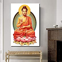 KWzEQ Buda Imagen impresión Lienzo Pintura al óleo Sala de Estar decoración del hogar Moderno Arte de la Pared Pintura al óleo Cartel Foto,Pintura sin Marco,60x90cm