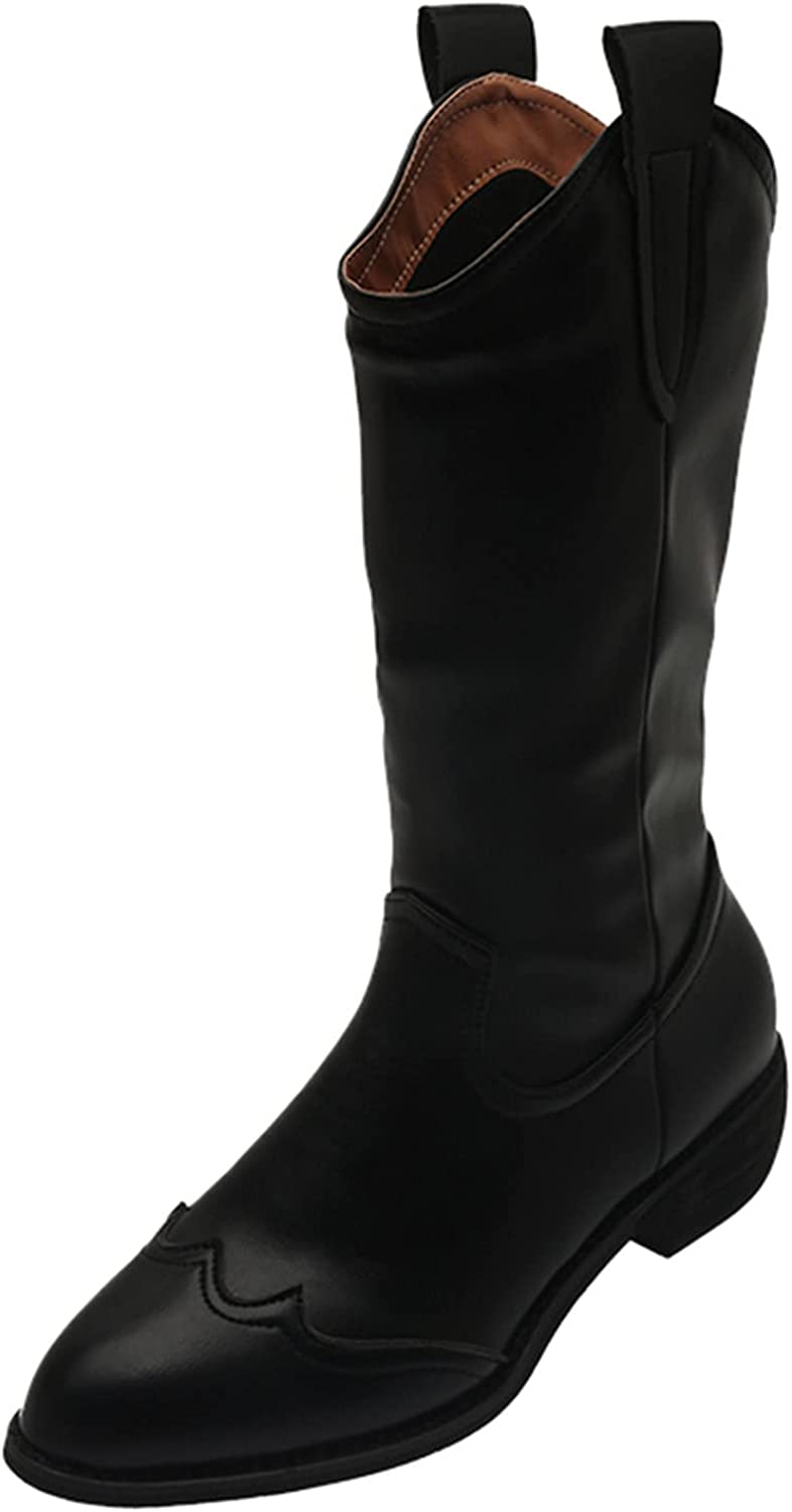 USYFAKGH Women's Fashion Solid Color Thinner Thick-Heeled Mid-Tube Knight Boots