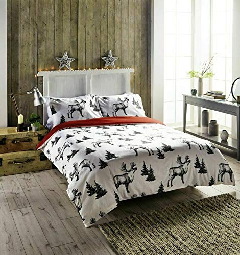 Kirkton House Black & White Reindeer Novelty 100% Brushed Cotton Winter Duvet Cover Set (Double)