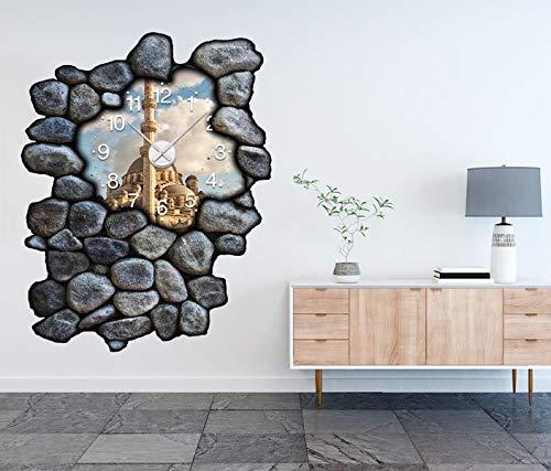 3D Wandtattoo inkl. Uhr 97x120cm Skyline Moschee Istanbul Islam Kat15 Allah White Aufkleber Wand Sticker Wanduhr Tattoo Wanddurchbruch T0091, Farbe der Uhr:Farbe der Uhr Schwarz