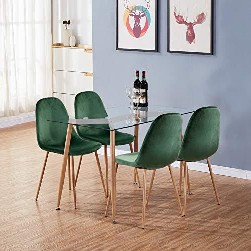 GOLDFAN Esstisch und 4 Stuhl Glas Glastisch und Grün Stuhl Samt Küchenstuhl Set Skandinavisch für Wohnzimmer, Küche
