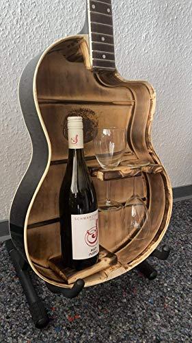 Gitarre Weinregal, Weinregal für 1 Weinflasche, mit Halterung für 2 Weingläser vorne und links, geflammtes Innenleben