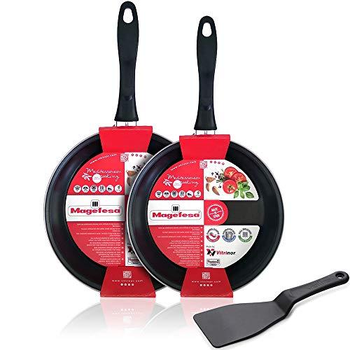 Juego sartenes Induccion Magefesa Black Vitrinor-Magefesa Acero esmaltado vitrificado (2 sartenes 20cm y 24cm + Espátula Especial Antiadherente Valira)