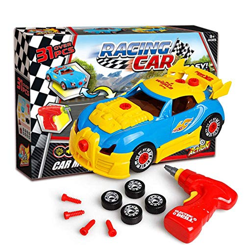 SHAWE Take Apart Toy Race Car, Construction Toy Kit for Kids,Build Your Own Car Kit,3D Take Apart Pieces With Realistic Sounds & Lights for 3 Years Old Boy