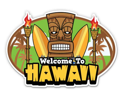 GT Graphics Express Welcome to Hawaii Tiki Torch Party Aloha - 3' Vinyl Sticker - for Car Laptop Water Bottle Phone - Waterproof Decal
