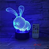 Seulement 1 pièce belle lampe en forme de lapin 3D LED Atmoshpere Light Lamp avec interrupteur Botton lampe comme cadeaux de vacances pour enfants