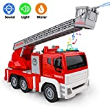 Fire Trucks for Boys - Firetruck & 5 Fireman-Toy with Water Shooting, Lights and Sounds, Friction Powered Fire- Engine-Truck with Rotating Folding Ladder for Toddlers 3, 4, 5, 6 Years Old