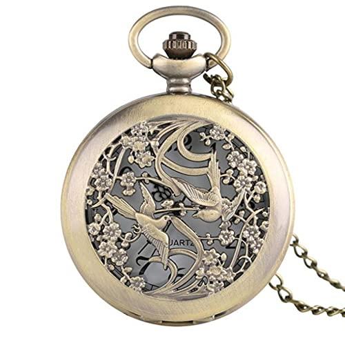 SWAOOS Collar de Flores y pájaros Novia Reloj Hermoso Caja de Flores Reloj de Bolsillo de Cuarzo