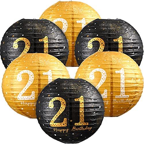 6 Decoraciones de 21 Cumpleaños Linternas de Papel Colgantes de Happy 21st Birthday Decoraciones de Carteles de 21 Cumpleaños Fiesta de 21 Aniversario con Purpurina en Oro Negro para Niños