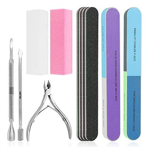 Wovte Nagelfeilen-Set, 11 Stück, 7-Wege-Block, Polierblock, mit Nagelhautzange und Schieber für abgestorbene Haut, Maniküre-Werkzeuge