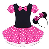 Toddler Girl Polka Dots Party Fancy Costume Birthday Tutu Dress up Dance Leotard Gymnastic Cosplay Gown w/Mouse Ear Headband Rose 4-5 Years