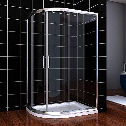 ELEGANT 1200 x 800 mm Left Offset Quadrant Shower Enclosure 6mm Sliding Glass Cubicle Door with Tray + Waste