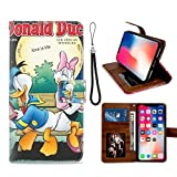 DISNEY COLLECTION Étui portefeuille en cuir PU pour iPhone X/10/Xs - Disney Donald Duck Love Is...