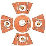 LYPER Round Table Placemats Set of 5, Wedge Decorative Placemats with Centerpiece Woven Vinyl Heat Resistant Non-SlipTable Mats for Farmhouse Restaurant Hotel - 44x28 cm/Diameter 35cm (Orange)