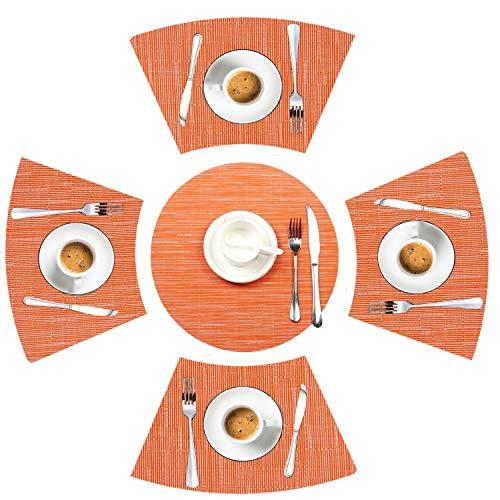 Juego de 5 manteles individuales de mesa redonda, manteles individuales decorativos en forma de cuña con centro de mesa de vinilo tejido, resistentes al calor, antideslizantes, para granjas, hoteles