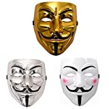 Miuion Guy Fawkes Mask -V for Vendetta, Anonymous Cosplay Party Mask for Halloween(3 Pack)