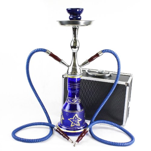 GStar Convertible Series: 18' 1 or 2 Hose Hookah Complete Set w/Case - Majestic Glass Vase (Santorini Blue)