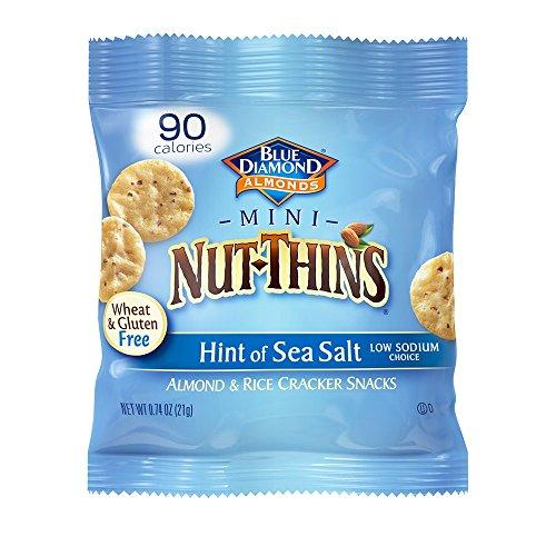 Blue Diamond Almond Mini Nut Thins Cracker Crisps, Hint of Sea Salt, Single Serve, 0.74 Ounce (Pack of 6)