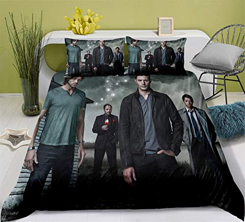 YOMOCO Supernatural Duvet Cover Bedding Set - Duvet Cover and Two Pillow Cases Microfibre 3D Digital Print 3-Piece Bed Linen (01.200 x 230 cm)