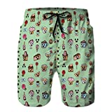 Yuerb Men's Quick-Dry Swim Trunks Board Beach Shorts Seamless Patern Style Kawaii Cute