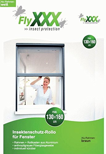 FlyXXX Insektenschutz Schiebefenster--Roller, mit automatischem Einzug, in braun oder weiß (braun)