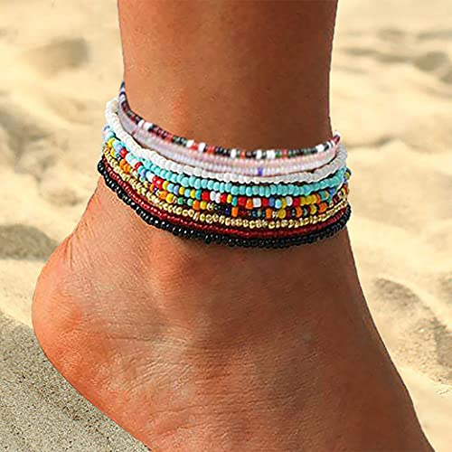 Boho Handmade Beads Multilayered Women Anklets Colorful Women Ankle Bracelets Beaded Bracelet Elastic Foot and Hand Chain Jewelry(10Pcs) (Set-2)