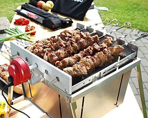 51+HoRiu5HL. SL500  - BEM Rambo Togo: Grill Set - Kleiner Schaschlik Grill, Edelstahl Mangal, Grill mit Motor, Campinggrill, inkl. Powerbank & Spieße