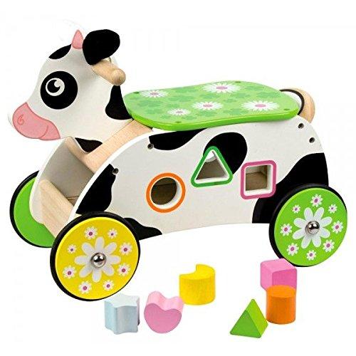 Bigjigs Toys Porteur Vache | Jouet pour Enfant | Cadeau Enfant | Joeut Traditionnel | Apprendre en Jouant