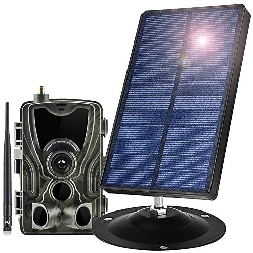 1800Mah 9V Panel Solar Portátiles con 4G Cámara Caza HD Trail Cámara Y 32GB SD Card 16 MP 1080P Impermeable IP66 120 ° Gran Angular 0.3S Velocidad Disparo para Observación Vida Silvestre