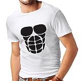 Camisetas Hombre para su Crecimiento del músculo - Camisetas Divertidas del Entrenamiento (Small Blanco Negro)