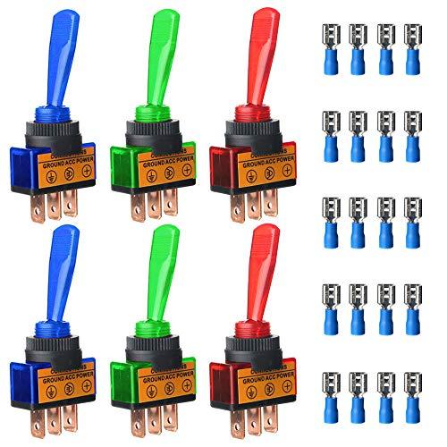 Gebildet 6pcs Conmutador de Palanca el Plastico 20A 12VDC,Interruptor de Palanca 2 Posiciones ON/Off SPST 3 Pin,Rocker Toggle Switch para Auto Vehiculo Barco(Rojo/Azul/Verde,Cada 2pcs)