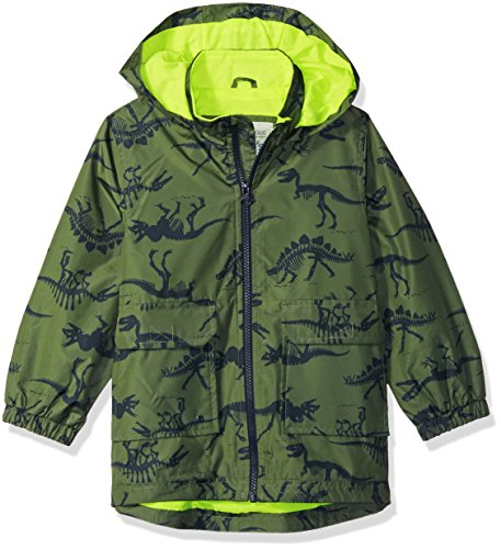 Carter's Boys' Little Favorite Rainslicker Rain Jacket, Green Dinosaur Print, 7
