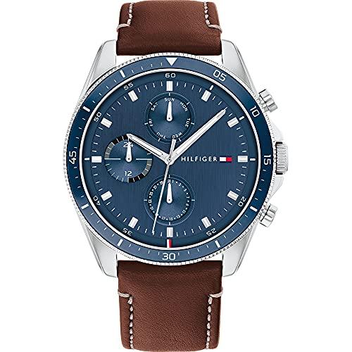 Tommy Hilfiger Mens Multi Zifferblatt Quartz Uhr mit Leder Armband 1791837