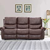 Recliner Sofa Set Reclining Couch Sofa Palomino Fabric 3 Seater Home Theater Seating Manual Recliner Motion for Living Room