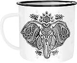 Autiga Taza esmaltada, diseño de elefante centangle, mandala, color blanco y negro, talla única