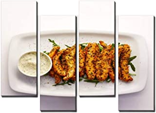 4 Panel Sesame cod studs with tartare sauce Canvas Print Pictures Modern Home Decor Posters Gifts Abstract Photo Canvas Wa...