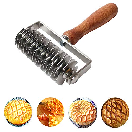 AMPSEVEN Stainless Steel Dough Lattice Top Cookie Pie Pizza Bread Pastry Crust Roller Cutter,Wood Handle