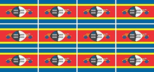 Mini Aufkleber Set - Pack glatt - 50x31mm - Sticker - Swasiland - Flagge - Banner - Standarte fürs Auto, Büro, zu Hause & die Schule - 12 Stück