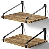Love-KANKEI Floating Shelves Wall Mount Rustic Wood Wall Shelves with Large Storage L16.5 x W12 inch for Kitchen Living Room Bathroom Bedroom Set of 2 Carbonized Black