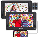 NAVISKAUTO Dual Portable DVD Players for Kids with HDMI, Sync Phone/TV, 2 Free Headrest Mount, Twin Screen Play Same or Two Different Movies