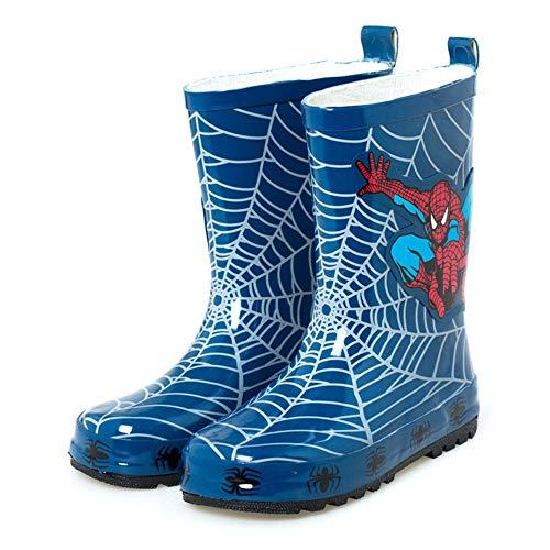 SPKIDS Kids Toddler Boys Girls Spider Man Waterproof rain Boots(Blue,2 Little Kid)