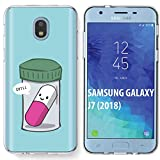 TalkingCase Clear Thin Gel Phone Case for Samsung Galaxy J7 2018,J7(V 2nd,Star,Aura,Crown),Chill Pill Saying Chill Print,Light Weight,Ultra Flexible,Soft Touch,Anti-Scratch,Designed in USA