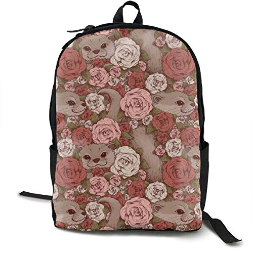 zhengchunleiX Sports Book Bags,Casual Rucksack,Travel Daypacks,Otter Flowers Unique Backpack Durable Oxford Outdoor College Students Busines Laptop Computer Shoulder Bags