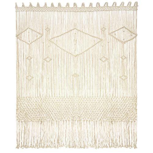 "Livalaya Macrame Curtain Large Wall Hanging - 52"" W x 78"" L Door Window Curtains Handwoven Wedding Backdrop Arch, Closet Room Divider Boho Fringe Wall Decor"