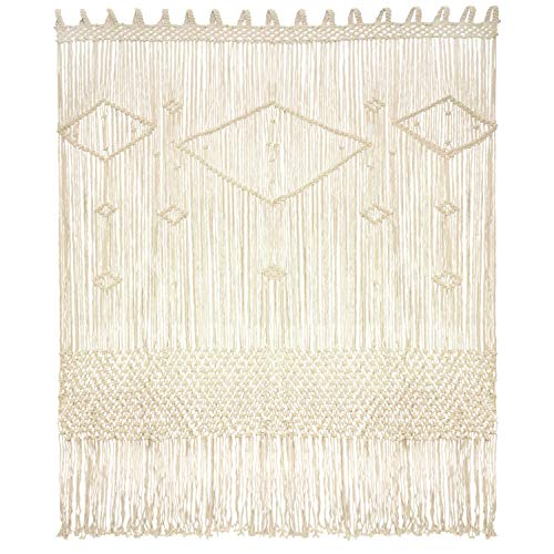 "Livalaya Macrame Curtain Large Wall Hanging - 52"" W x 78"" L Door Window Curtains Handwoven Wedding Backdrop Arch, Closet Room Divider Boho Fringe Wall Decor"