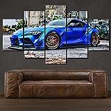 WKXZZS Cuadro Impresión Lienzo Pintura,5 Piezas Toyot Supra Sports Car Carteles Artísticos de Pared e Impresiones, Pintura en Lienzo,Cuadros Modulares para la Decoració