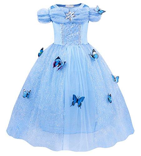 Jurebecia Disfraz Princesa Vestido de Princesa Vestido de Fiesta para Niñas Dress Largo de Gasa con Encaje de Princesa Halloween Fiesta de Cumpleaños 9-10 Años Azul