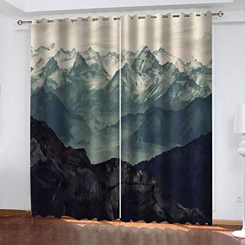 WLHRJ Cortina Opaca en Cocina el Salon dormitorios habitación Infantil 3D Impresión Digital Ojales Cortinas termica - 280x245 cm - Paisaje de montaña Abstracto
